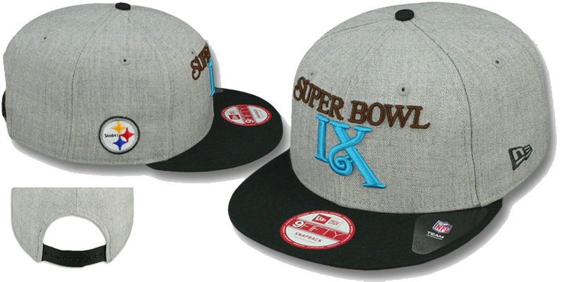 Super Bowl IX Pittsburgh Steelers Grey Snapbacks Hat LS